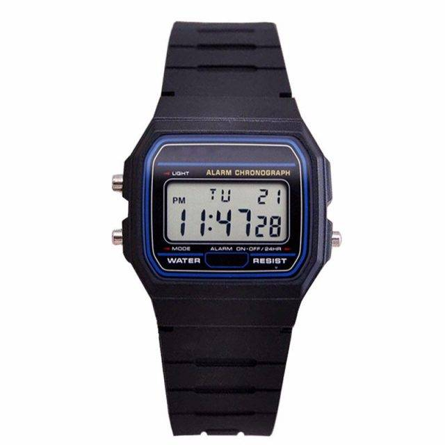 Waterproof Digital Wristwatches with Stainless Steel Case and Strap