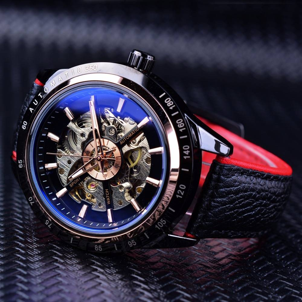 Waterproof Auto Mechanical Wristwatches with Transparent Case
