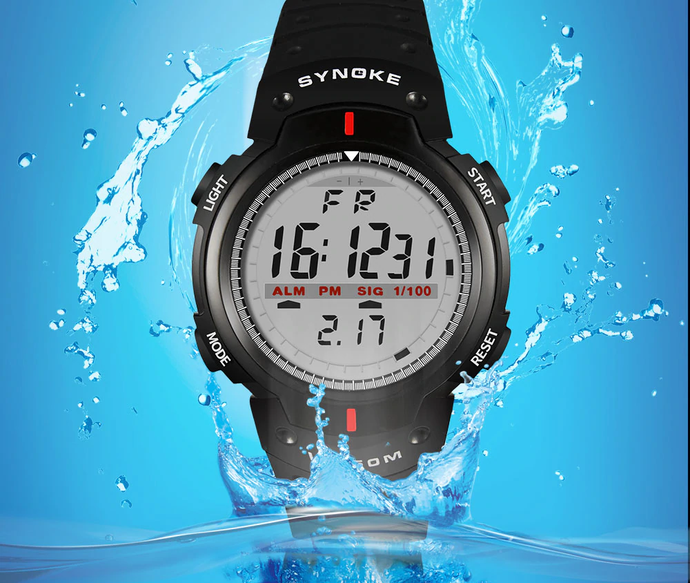 Waterproof Digital Wristwatches with LED Display