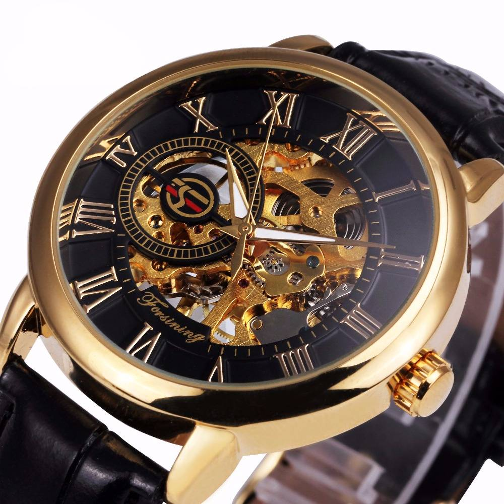 3D Leather Mechanical Skeleton Watches for Men