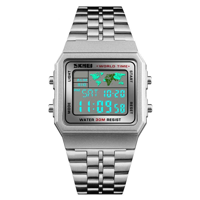 Classic Stainless Steel Watches with Digital Movement