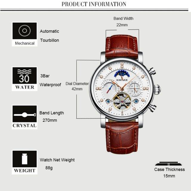 Moon Phase Automatic Skeleton Watches for Men