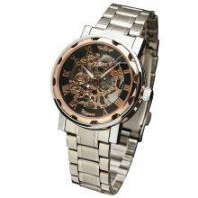 Men's Steampunk Style Mechanical Watch Color: Silver Rose Black