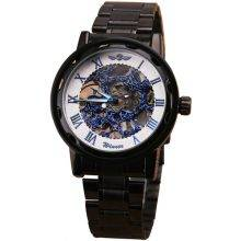 Men's Steampunk Style Mechanical Watch Color: Black White Blue
