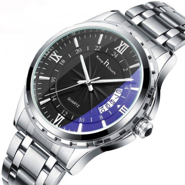Men's Stylish Silver-colored Wristwatch with Metal Band
