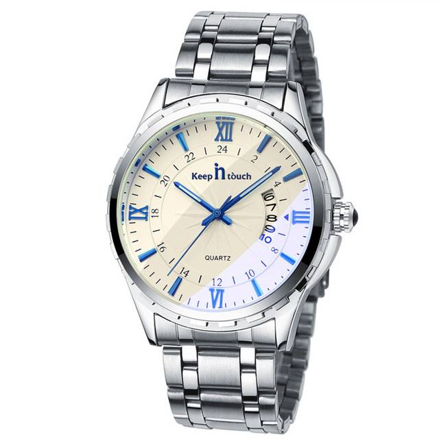 Men's Stylish Silver-colored Wristwatch with Metal Band Style: 2