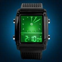 Fashionable Waterproof Wristwatches for Men with Dual Display