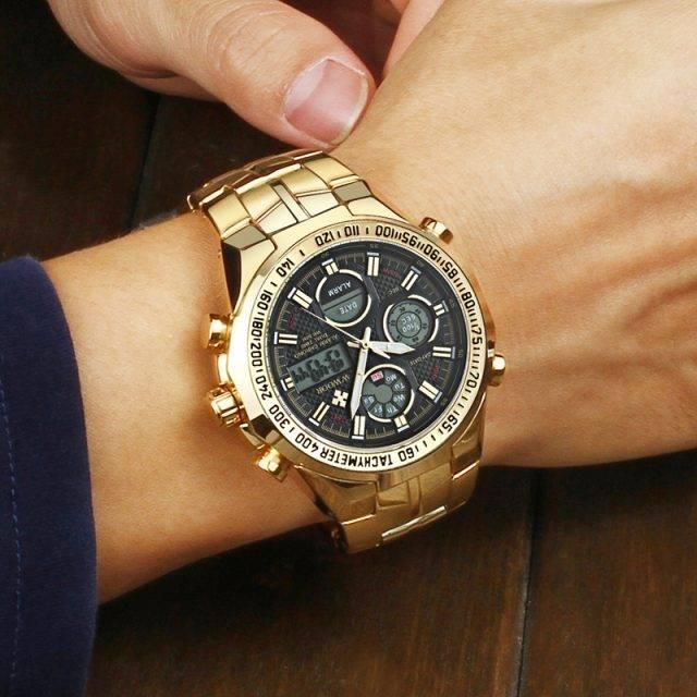 Luxury Men's Waterproof Watches With Dual Display