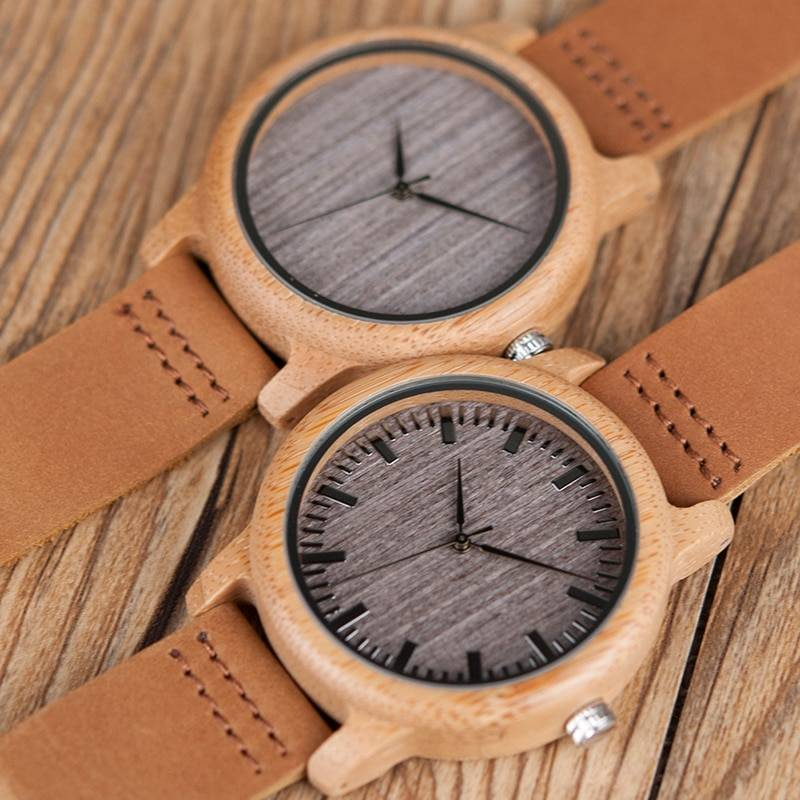 Round Bamboo Wood Watches With Leather Band