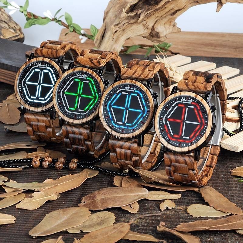 Wooden Digital Wristwatches for Men