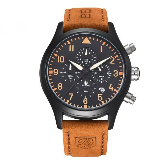 Leather Water Resistant Men's Wristwatch Color: Brown