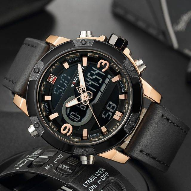 Luxury Military Styled Watches for Men with Dual Display