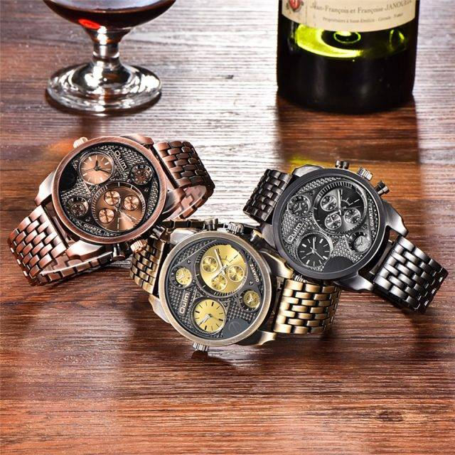 Men's Steampunk Style Colorful Wristwatch with Stainless Steel Band