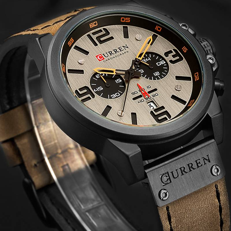 Quartz Wristwatches for Men with Leather Strap