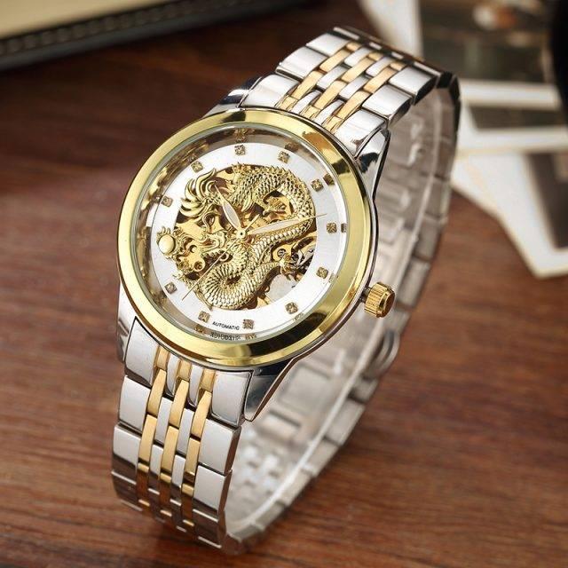 Men's Luxury Waterproof Dragon Decorated Watches