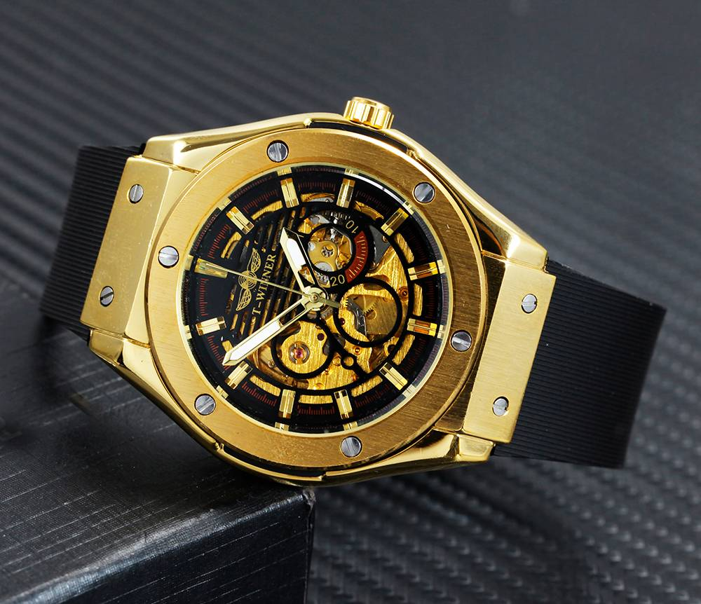 Classy Automatic Watches for Men with Exposed Skeleton Dial