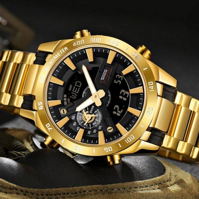 Men's Waterproof LED Dual Display Watches