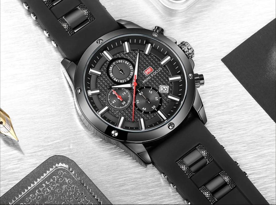 Men's Silicone and Stainless Steel Bracelet Watches