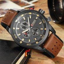 Men's Perforated Leather Strap Watches