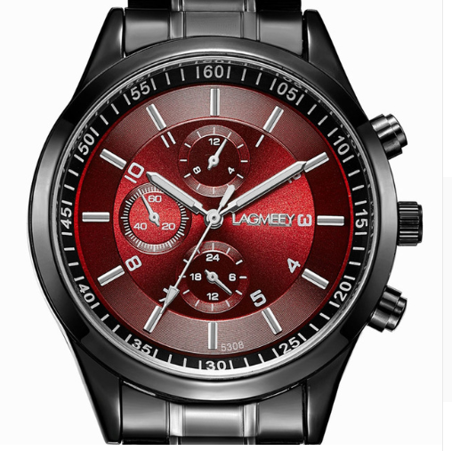 Men's Waterproof Sports Watch Color: Steel Red