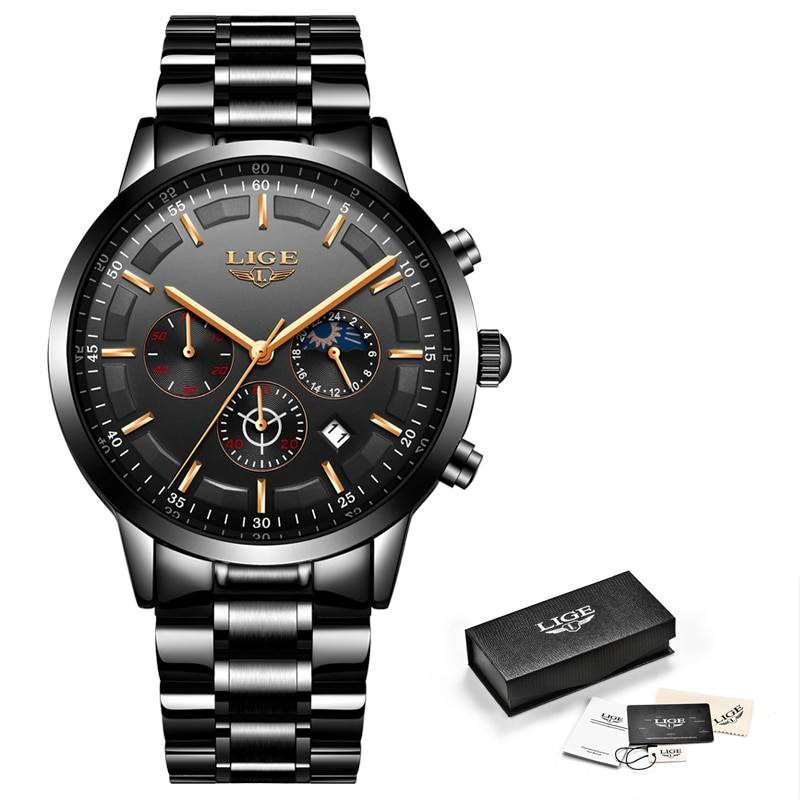 Business Style Watches for Men with Stainless Steel Strap