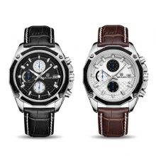 Quartz Wristwatches for Men with Leather Strap and Chronograph