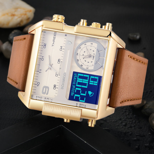 Luxurious Dual Display Watches for Men with Leather Strap