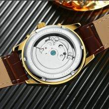 Beautiful Auto Mechanical Wristwatches with Leather Strap