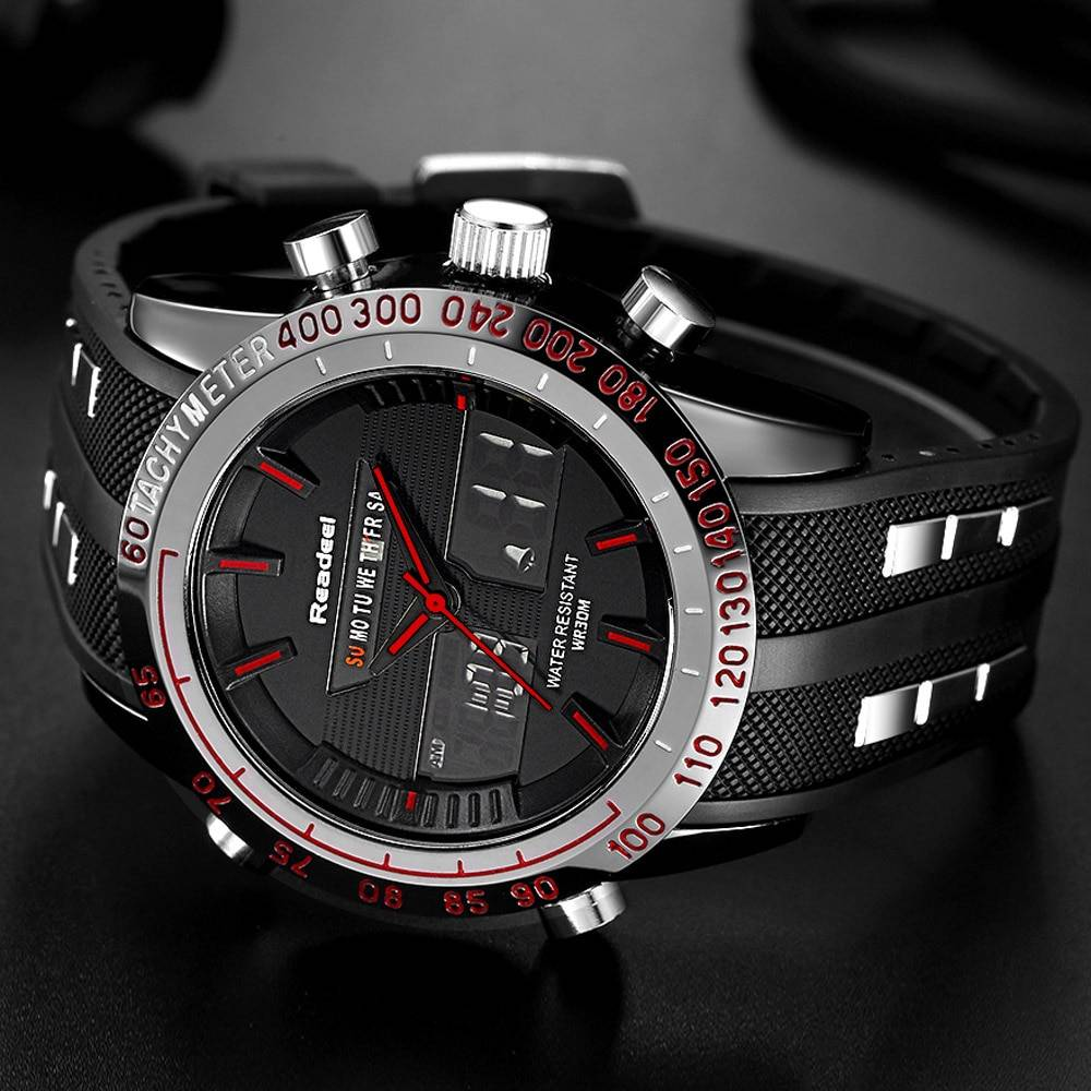 Waterproof Quartz Wristwatches for Men with Digital LED Dial