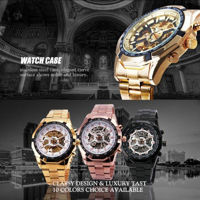 Cool Men's Skeleton Auto Mechanical Watch
