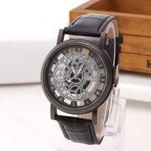 Quartz Watches for Men with Hollow Dial and Leather Strap