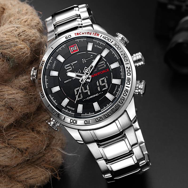 Men's Dual Display Design Stainless Steel Watch
