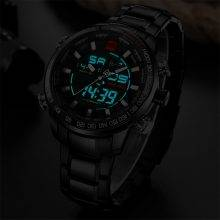Men's Dual Display Design Stainless Steel Watch