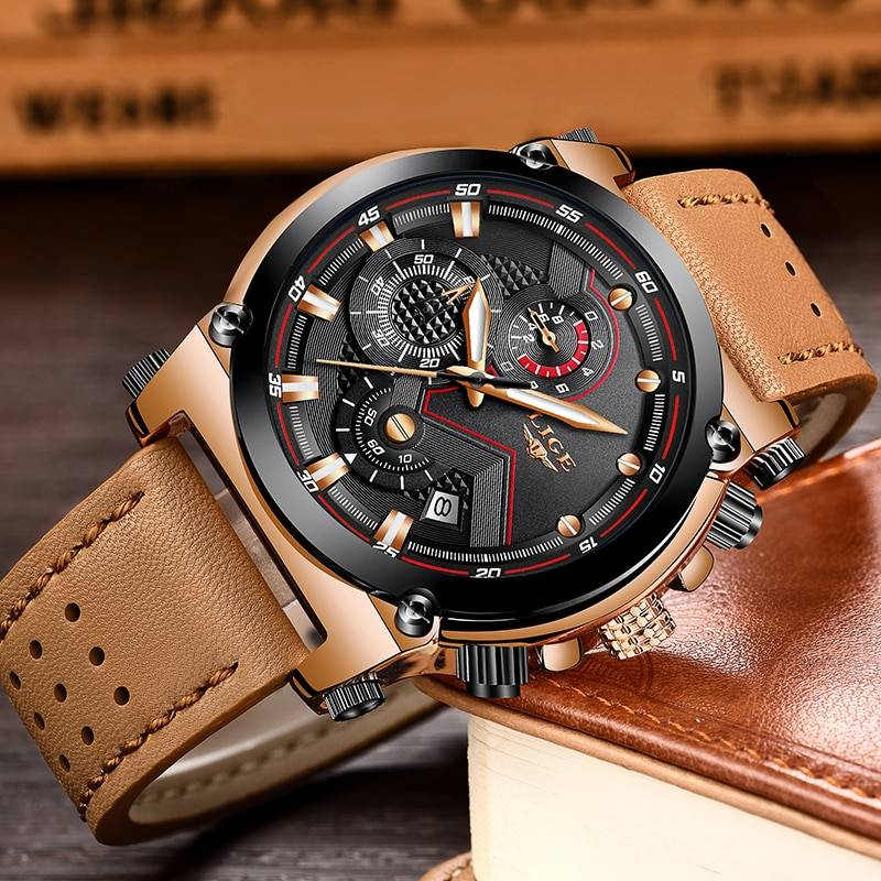 Waterproof Quartz Wristwatches for Men with Leather Strap