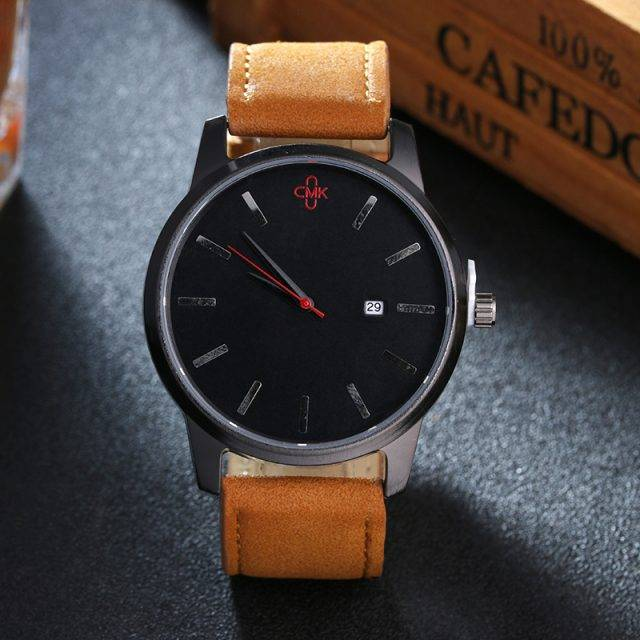 Men's Leather Strap Business Watch