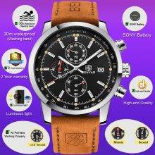 Men's Round Leather Wrist Watches