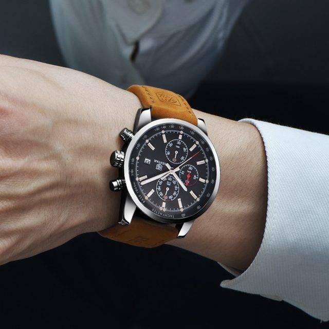 Men's Round Leather Wrist Watches