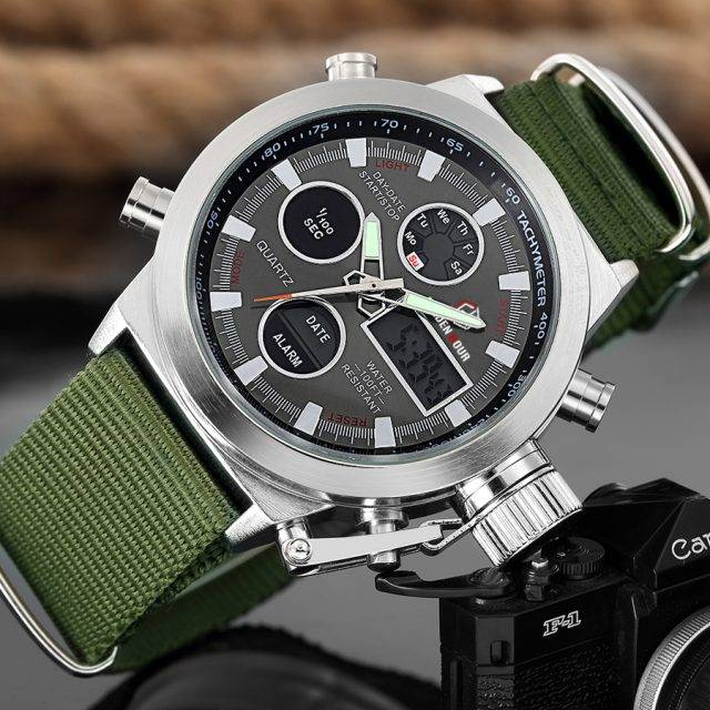 Fashionable Waterproof Watches with Dual Display