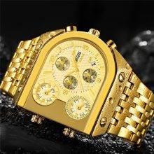 Часы TEMEITE мужские, армейские, водонепроницаемые, кварцевые, из золотистой стали