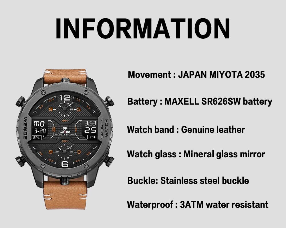 Men's Sports Watch with Dual Digital Display
