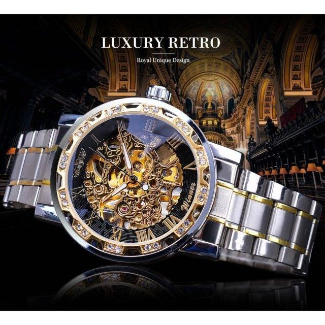 Men's Luxury Diamond Luminous Skeleton Watch